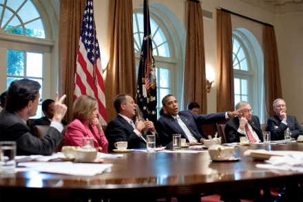 President Barack Obama meets with congressional leaders in the Cabinet Room of the White House on July 13 to discuss ongoing efforts to find a balanced approach to the debt limit and deficit reduction.